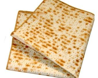 Passover Matzah Napkins Set of 4, Passover Matzo Yarmulkes Kippot, Seder Table Decor