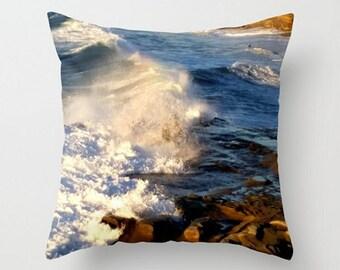 Ocean Throw Pillow, California, Coastal Art Print Pillow, Deep Blue Sea, White Waves, Surfers Dream, California Cove, Pacific Ocean Cushion
