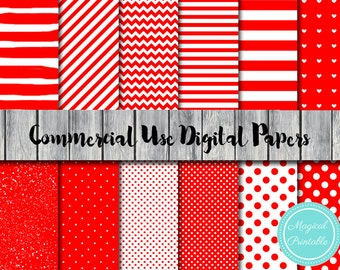 Red Digital Papers, Valentine's Digital Papers, Instant Download, Commercial Use, Scrapbook Digital Papers, Digital Background, DP06