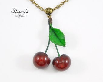 Two Red Cherries Necklace * cherry jewelry * romantic berry * red cherry * cherry style * cherry pendant * cherries berry * wood gift