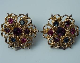 Vintage Flower Ornate Rhinestone Clip Filigree Earrings