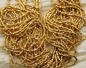 """Rare find! 12/0 3Cut 24Kt Gold Plated Czech seed beads - 1 strand 14"""""""