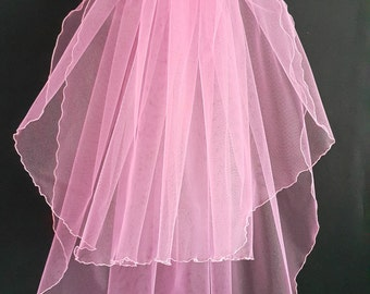 Pink Wedding Veil, Two Layers