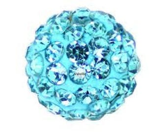 Shamballa 10mm turquoise rhinestone disco beads