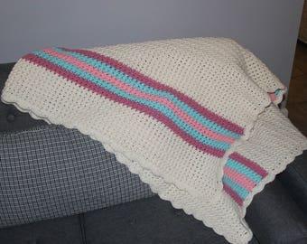 Vintage Crochet Blanket 36x70