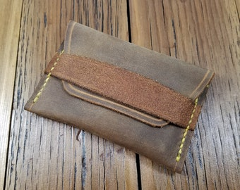 Rustic Leather Card Holder with Flap and Yellow Stitching