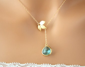 Beautiful Lariat Y Necklace, Stone in bezel with leaves in GOLD, with 10 Colors for you to choose, wedding, birthday, Perfect gift for her
