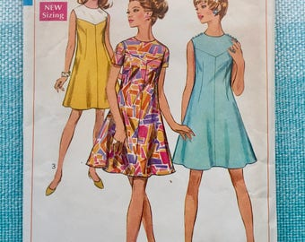 1960s Simplicity 7534 Sewing Pattern Ladies Misses Mod Color Block Dress Sleeveless A-Line Yoke Short Sleeves Size 8 12 Bust 31 34