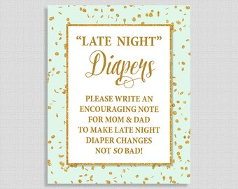Late Night Diapers Baby Shower Sign, Mint and Gold Glitter Confetti Shower Sign, 8x10, INSTANT PRINTABLE