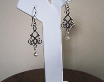 Art Deco Elizabethan Earrings Sterling Silver Bridal Wedding Prom Cultured Pearls  - 2 inches