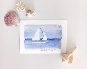 Sailboat Watercolor - Miniature Giclee Print