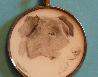Border Collie Original Pencil Drawing Pendant with Organza Pouch -Choice of Necklaces -Free Shipping- Desert Impressions