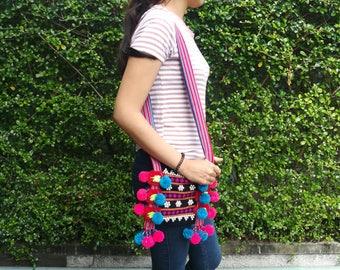 Ethnic Crossbody bag, Hilltribe Bag, Hmong Shoulder Bag, Thai Pom Pom  Sling Bag, Tribal Tote Bag, Boho Crossbody Bag