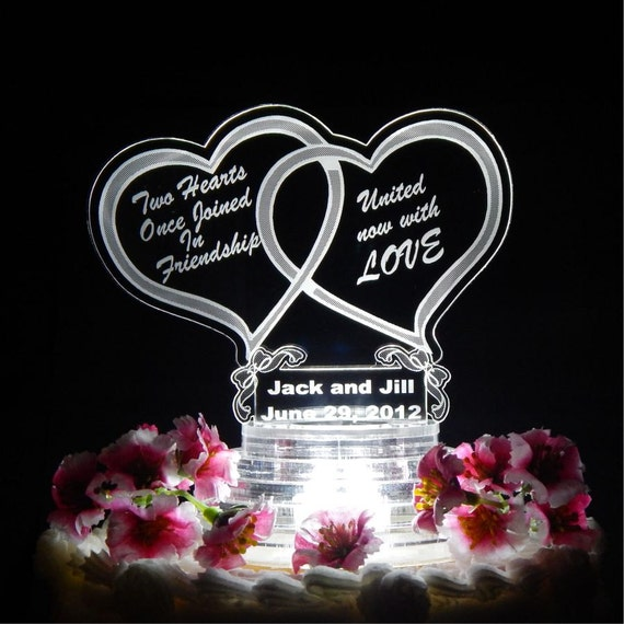 Captivating Double Heart Wedding Cake Topper Light Up Cake Top Acrylic