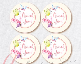Thank You Favor Tags . Butterflies tags. Printable tag. Butterfly printables. INSTANT DOWNLOAD