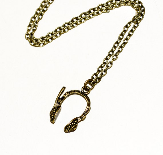 Headphones Necklace, Headphones Pendant, Bronze Headphones, Music Necklace, Music Lover, Music Jewelry, Simple Necklace, Everyday Jewelry
