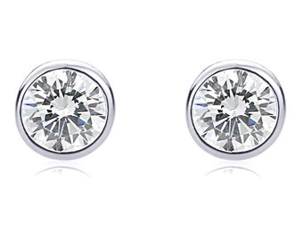 Men Women 6mm 14K White Gold Round CZ Martini Setting Bezel Stud Earrings(DJBBZ06E-WG)