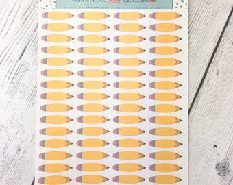 DP23-A    BACK TO SCHOOL Pencil Planner Stickers - PlannerKate & DorkyDoodles (Removable Matte Stickers)