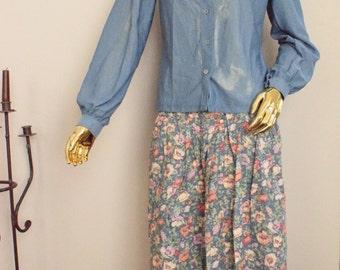 Vintage flower skirt, Pastel flower skirt, long skirt with flowers floral skirt pleated flower skirt vintage fashion skirt long floral skirt