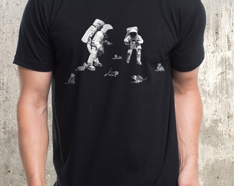 Astronauts and Space Kittens - Men's Graphic Tee - American Apparel - Men's Small Through XXL Available