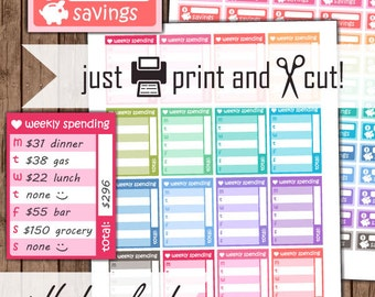 Budget Planner Stickers, Printable Daily / Weekly Spending Stickers, Savings Tracker