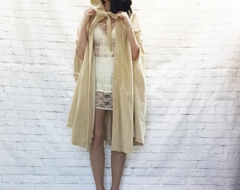 Vintage 60s Velveteen Hooded Cape Poncho Trapeze Coat Tie Front Gold Beige