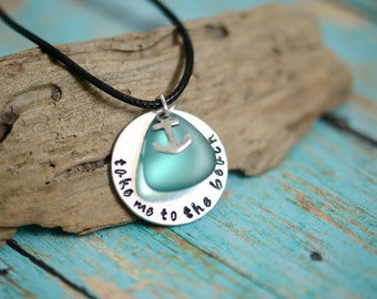 Take Me To the Beach Metal Stamped Necklace with Sea Glass / Seaglass