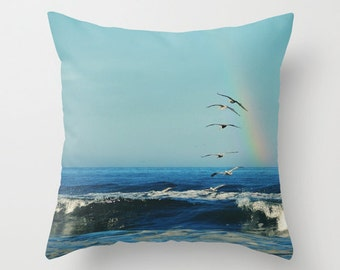 Throw Pillow Case - I'll Follow - Photography Home Decor, Blue Sky, Birds in flight, Pelicans, Ocean, Sea, Surf, Typography,