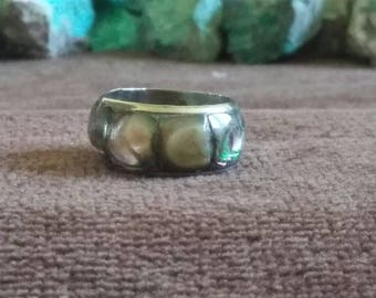 Vintage Abalone Tiled Ring Band 9 mm wide -- Size 8