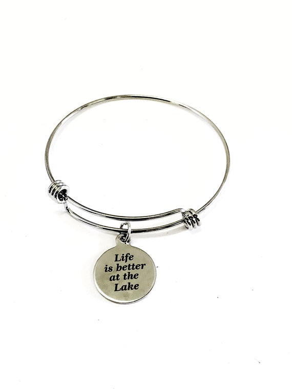 Life Is Better At The Lake Bracelet, Wife Gift, New Lakehouse Gift, Life Is Better At The Lake Jewelry, Life At The Lake Gift, Wife Jewelry
