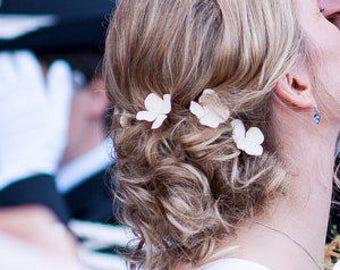 White Hydrangea pins ( set of 6 ) - Weddings, Hair accessories, Hair pins, Hair Jewellery, hydrangea hair clip, NOT FRAGILE!