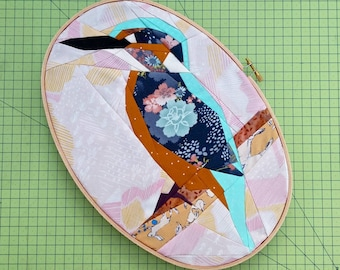 Kingfisher foundation paper piecing pattern - bird quilt pattern download PDF - make your own animal quilt block - gift for bird lover