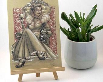 Card A6 postcard Queen of heart Marylou Deserson Illustration _ original _