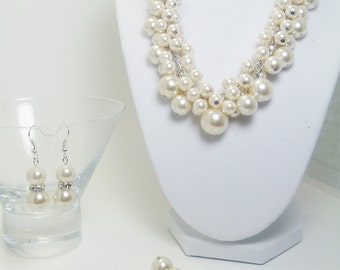 Ivory Pearl Cluster Jewelry Set, Ivory Cluster Necklace, Ivory Cluster Bracelet, Ivory Pearl Jewelry, Bridal Jewelry, Bridesmaid Jewelry