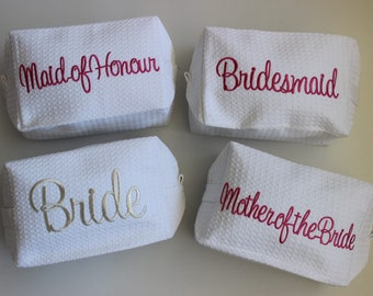 4 pack of Diamante design. Make-Up Bags - Bridal Party Waffle with Sparkling diamante  Design