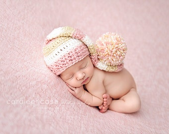 Elf Hat in Pink, Cream, and Gold
