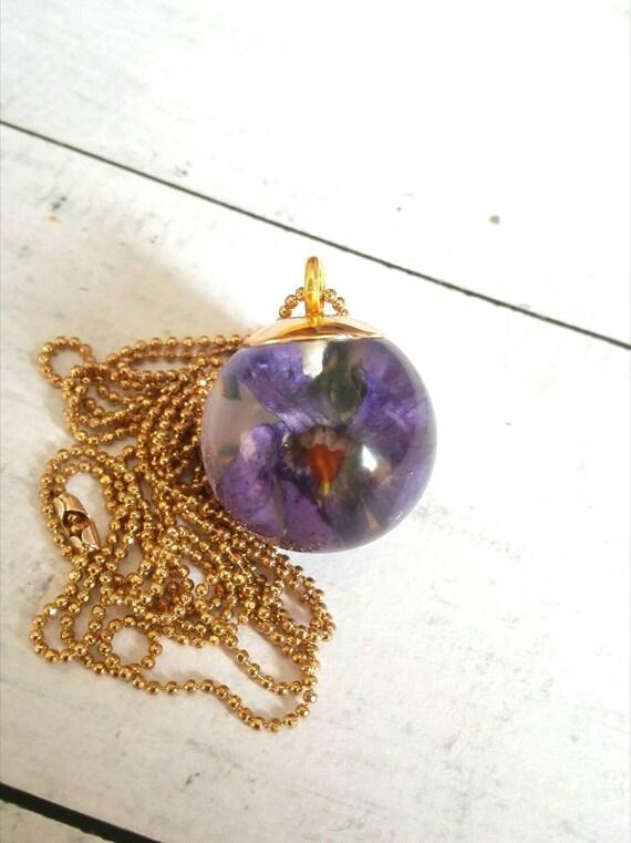 Best gift for her resin necklace Gold filled Terrarium Pendant real violet pendant flower jewelry gift for her necklace ooak dainty necklace