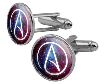 Atheist atheism symbol in space round cufflink set silver color
