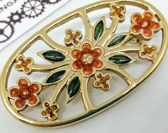 1980s vintage brooch, vintage pin, vintage flower pin, brooch, flower pin, 1980s Avon pin, enamel pin, vintage enamel pin, enamel flower pi