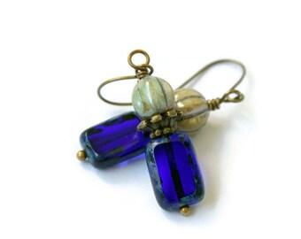 Czech Glass Earrings - Cobalt Blue and Melon Green Earrings - Petite Earrings - Short Dangles - Lightweight - Handmade Jewelry - For Women