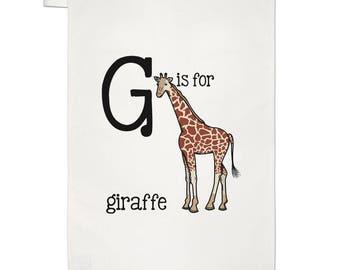 Letter G Is For Giraffe Tea Towel Dish Cloth