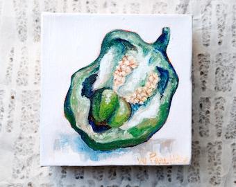 Kitchen Art: Green Bell Pepper Oil Painting