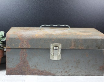 Vintage Rusty Metal Tool or Tackle Box, Office Organization, Industrial, Craft Storage