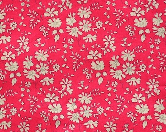 Liberty fabric Tana Lawn Capel G- 9''x26'' Fat Eighth Red-  Classic Collection