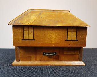 Vintage Miniature Doll House Wooden Jewelry or Trinket Box 1940's Original Inlaid Wood