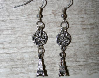 "Earrings""love Paris"" with silver metal charms"