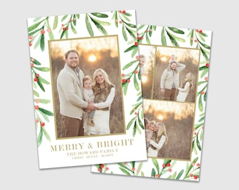 Double Sided Modern Christmas Holiday Photo Card, Multi Photo Card, Watercolor Christmas Card