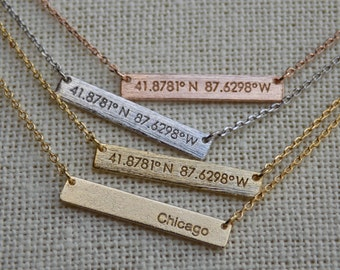 Chicago Coordinates Bar Pendant