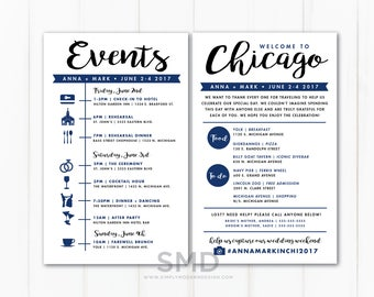 event sign, wedding itinerary, timeline, guest schedule, guest timeline, welcome kit, destination wedding, out of town, PRINTABLE or PRINTED