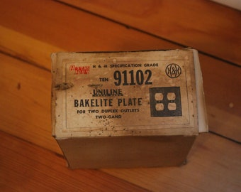 Bakelite Uniline Plate for two duplex outlets Two-Gang